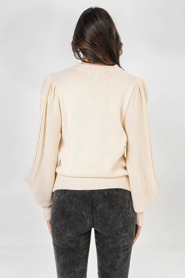 A Sweater Featuring Round Neckline Pinky Petals