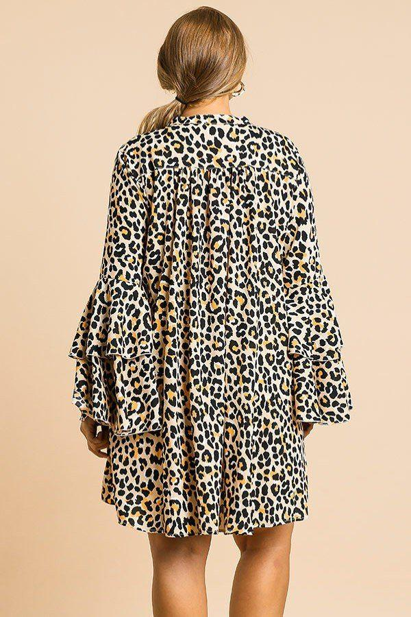 Animal Print Oversize Bell Sleeve V-neck Dress demochatbot