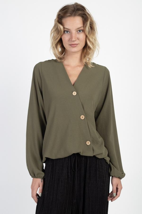 Asymmetrical Button Front Top demochatbot Olive S