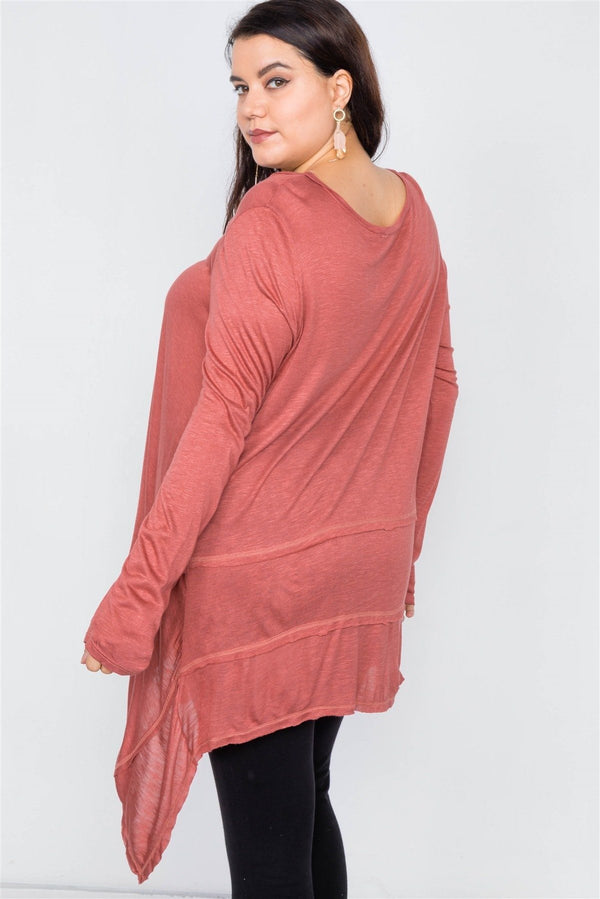 Asymmetrical Hem Seamed Sweater demochatbot