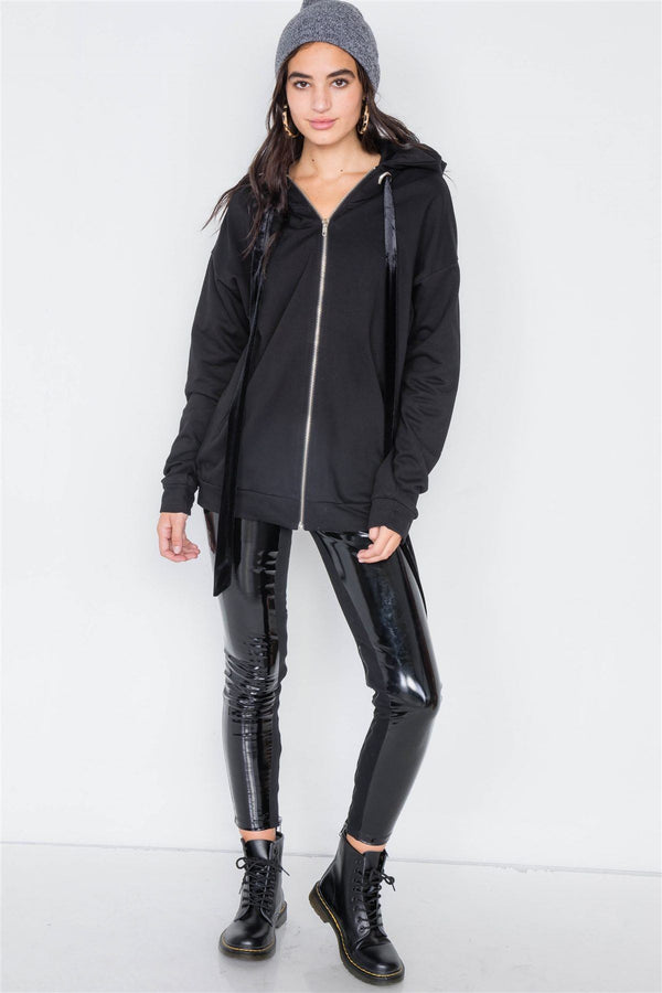 Black Cotton Zip-up Hoodie Sweater demochatbot
