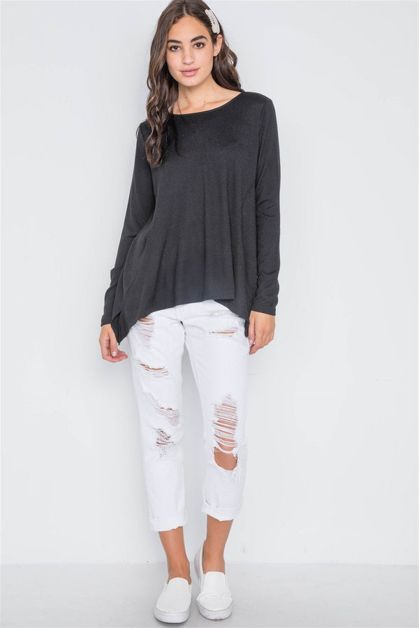 Black Long Sleeve Solid Asymmetrical Sweater demochatbot