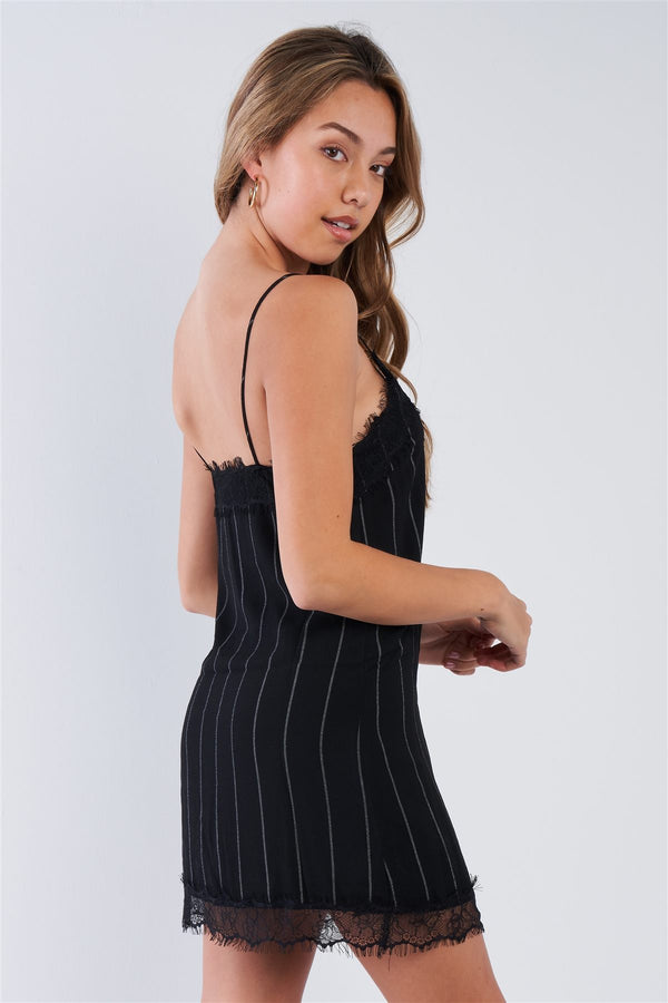 Black Pinstripe Lace Trim Slip Mini Dress - Pinky Petals