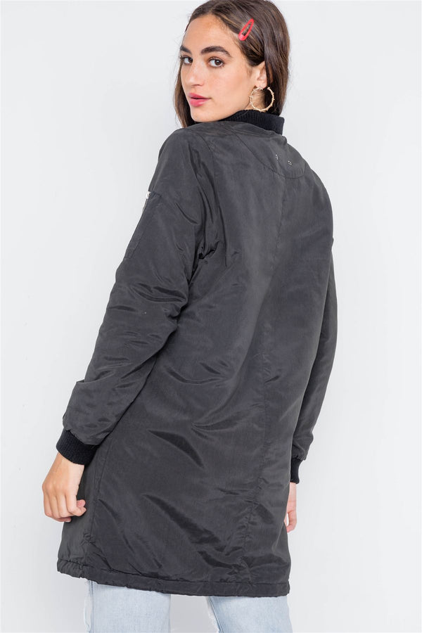 Black Puffer Long Sleeve Bomber Jacket demochatbot
