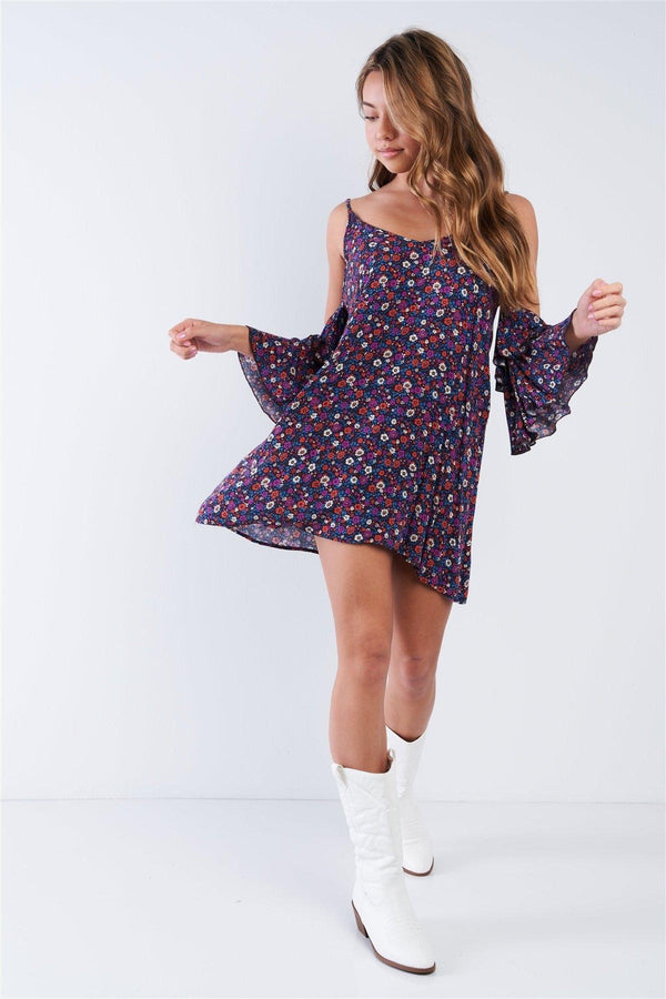 Boho Floral Print Cold Shoulder Bell Sleeves Mini Dress - Pinky Petals