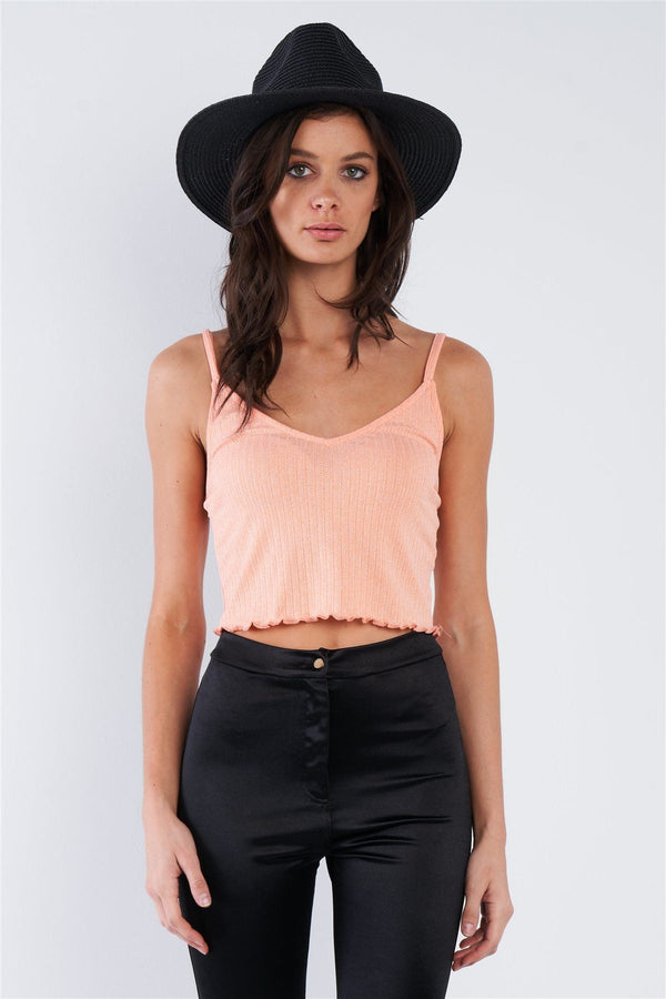 Boho Ribbed Low Back Spaghetti Strap Crop Top demochatbot Light Coral Pink S
