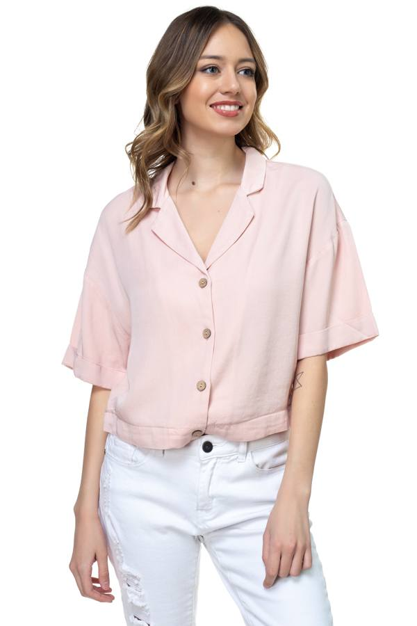 Boxy Button Down Shirt demochatbot Blush S