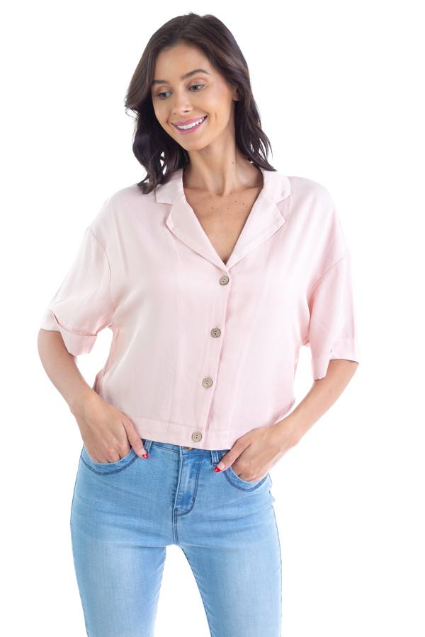 Boxy Button Down Shirt demochatbot Dusty Blush S