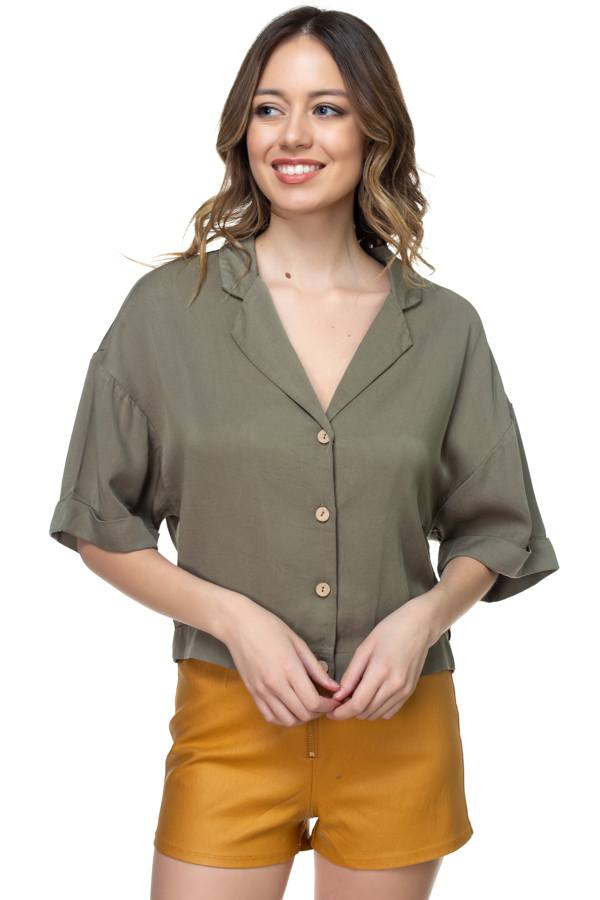 Boxy Button Down Shirt demochatbot Olive S