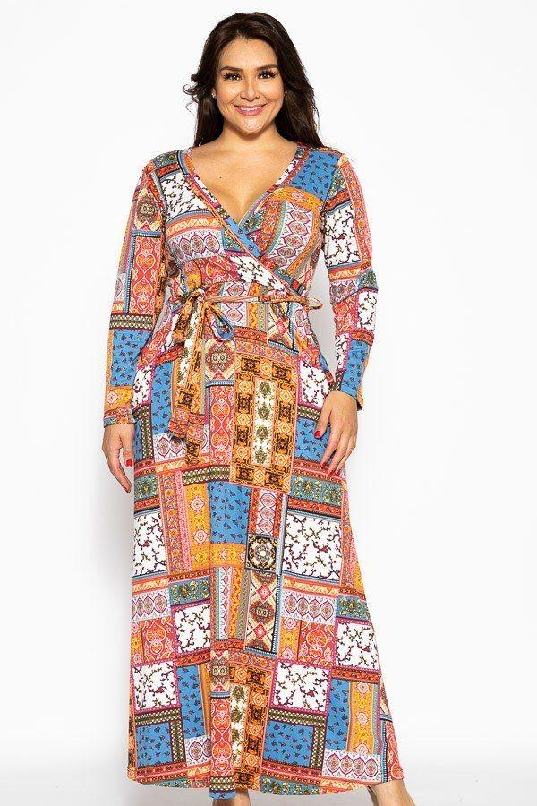 Breathable Autumn Maxi Dress demochatbot Blue Pink Patchwork 1XL
