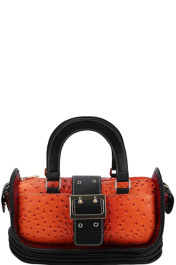 Buckle Accent Stylish Cute Satchel With Long Strap demochatbot