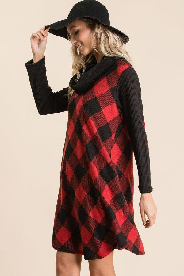 Buffalo Plaid Tartan Swing Dress Pinky Petals