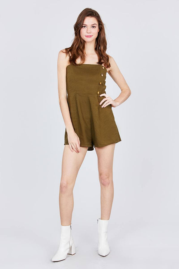 Button Down Cami Linen Romper demochatbot