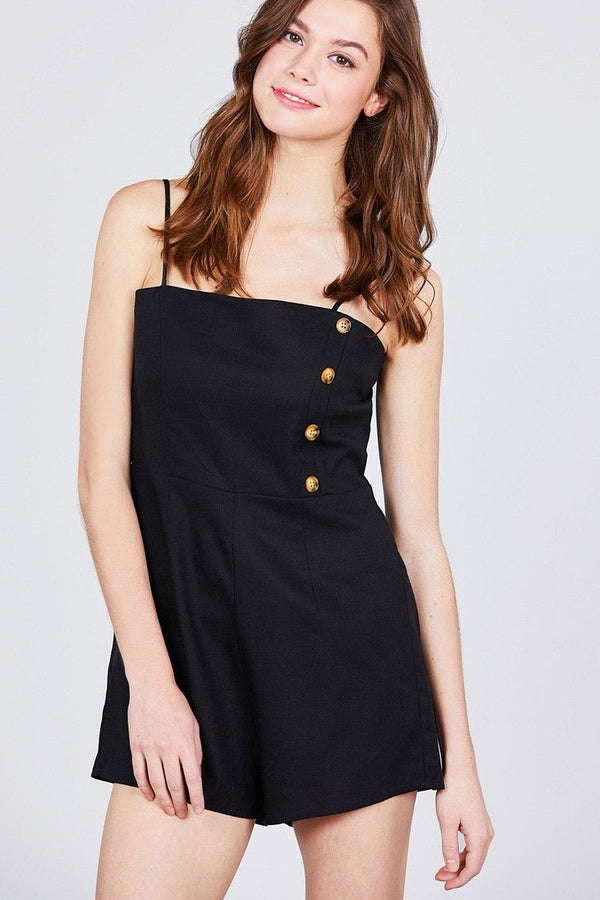 Button Down Cami Linen Romper demochatbot Black S