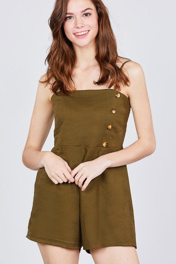 Button Down Cami Linen Romper demochatbot True Olive S