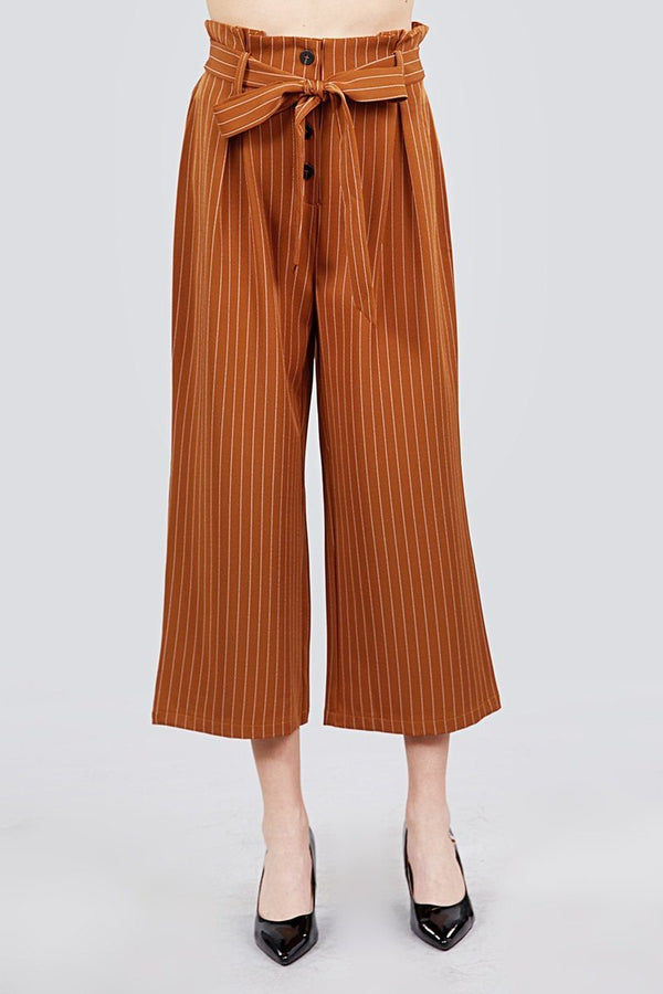 Button Down Paperbag Cullote Stripe Pants - Pinky Petals