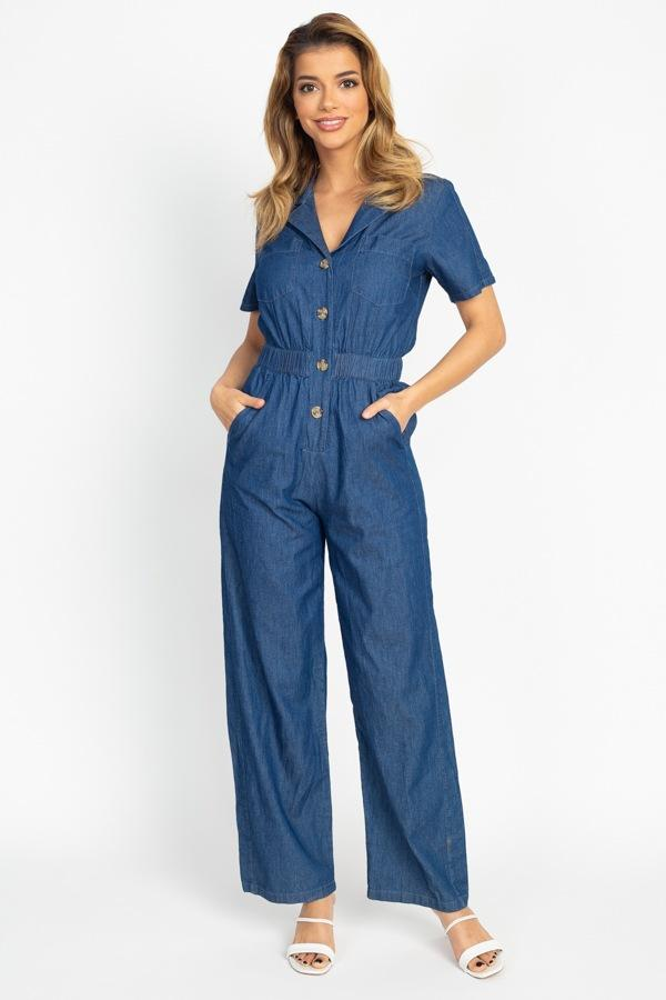 Button Front Elasticized Waist Jumpsuit demochatbot Dark Wash S