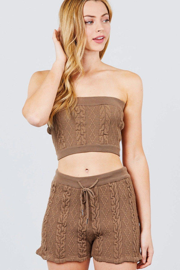 Cable Detail Sweater Tube Top And Sweater Short Pants Set demochatbot Khaki S