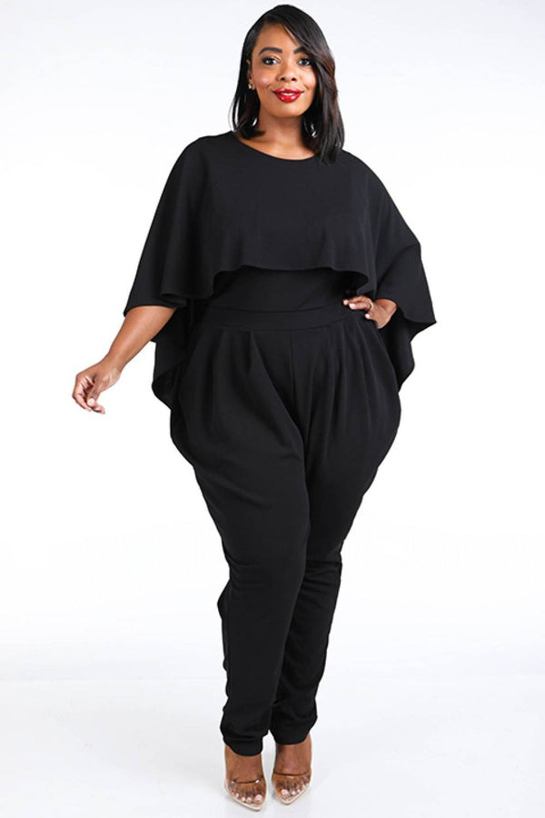 Cape Style Harem Jumpsuit demochatbot Black 1XL
