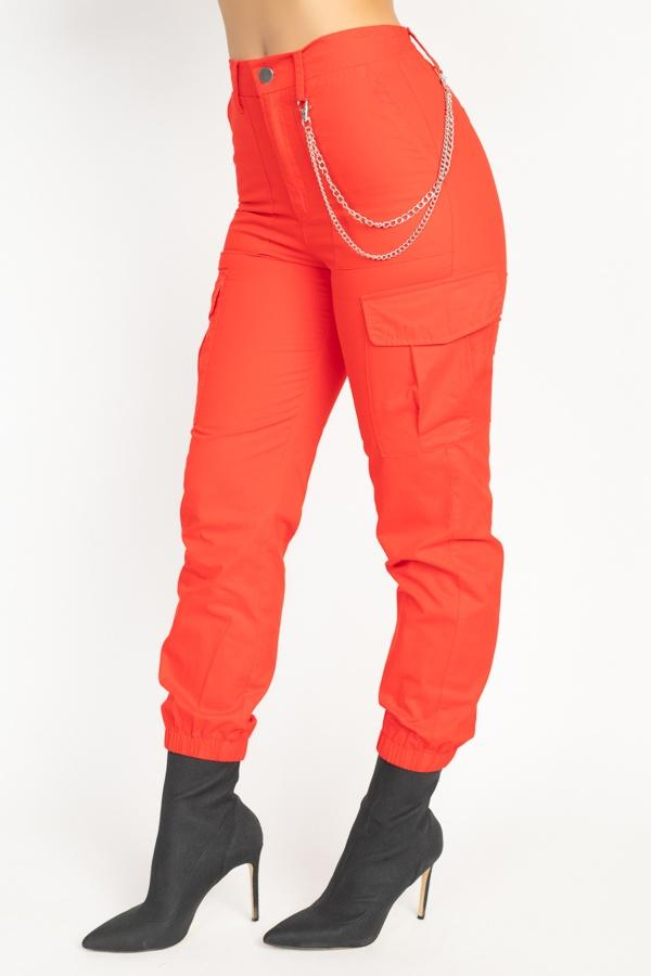 Chain Cargo Twill Jogger Pants - Pinky Petals