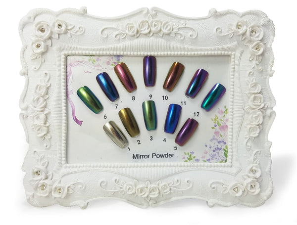 CHROME MIRROR NAIL POWDER KIT WITH 12 COLORS, APPLICATORS, AND COLOR CHART - Pinky Petals