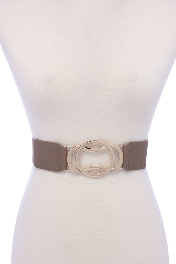 Circle Metal Buckle Pu Leather Elastic Belt demochatbot