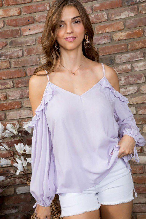 Cold Shoulder V Neck Adjustable Strap 3/4 Bubble Sleeve Top demochatbot Pastel Lilac S