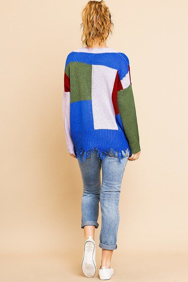 Color Blocked Long Sleeve V-neck Knit Pullover Sweater demochatbot