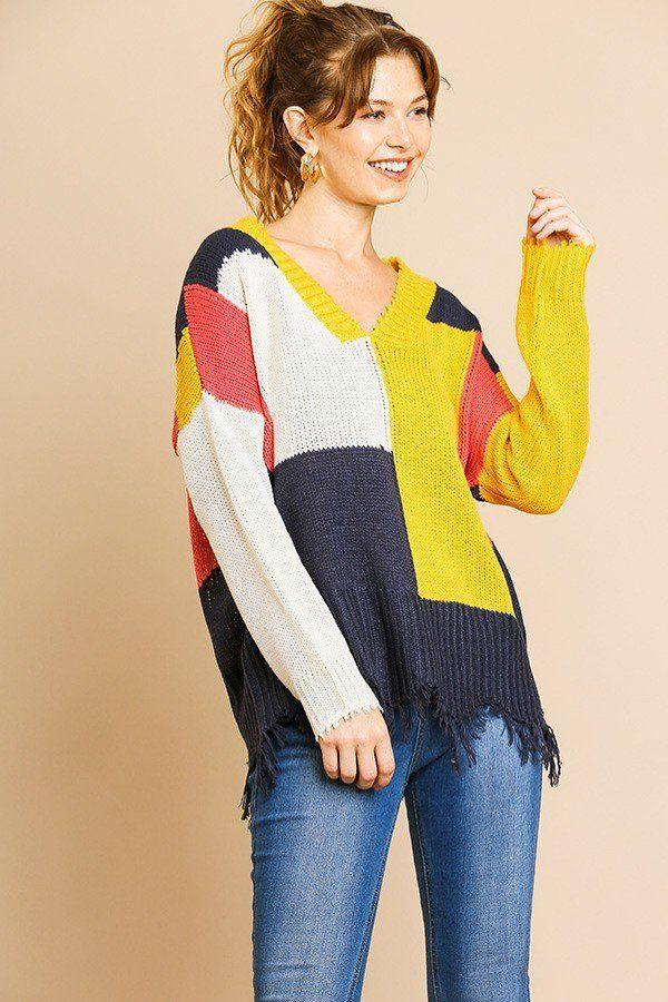 Color Blocked Long Sleeve V-neck Knit Pullover Sweater demochatbot Mustard/Coral S