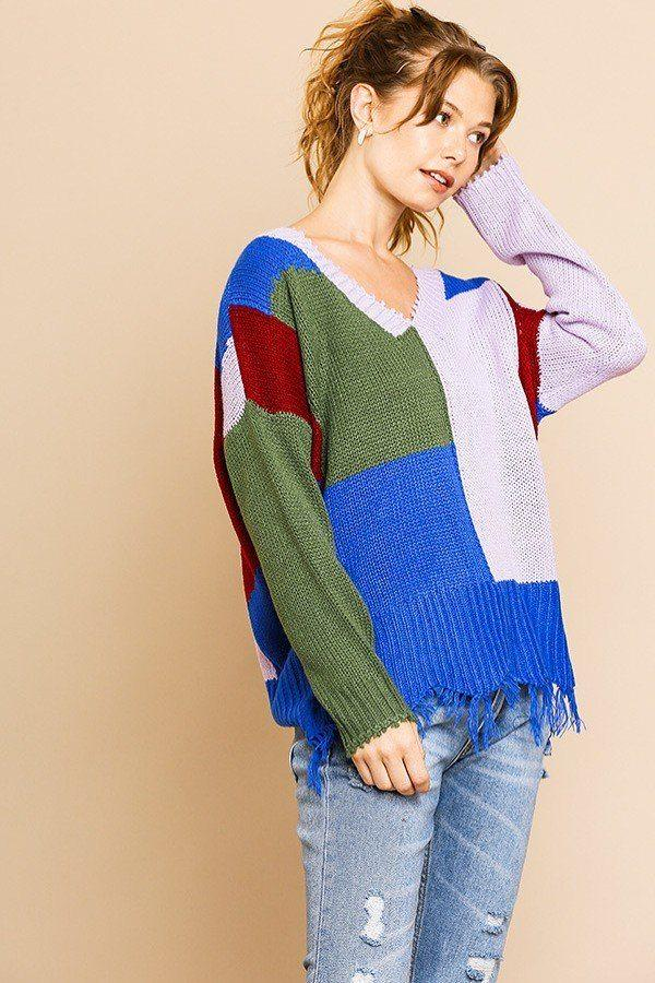 Color Blocked Long Sleeve V-neck Knit Pullover Sweater demochatbot Olive/Lavender S