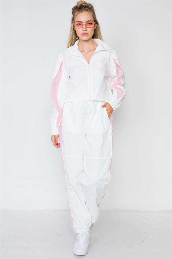 Colorblock Windbreaker Jacket Pant Set demochatbot White/Pink S