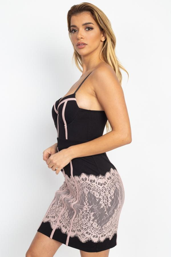 Contrast Trim Lace Mini Dress - Pinky Petals