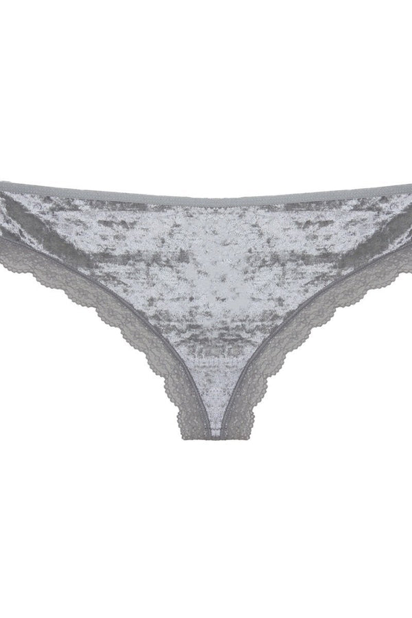Cut Out Back Velvet Thong demochatbot Silver S
