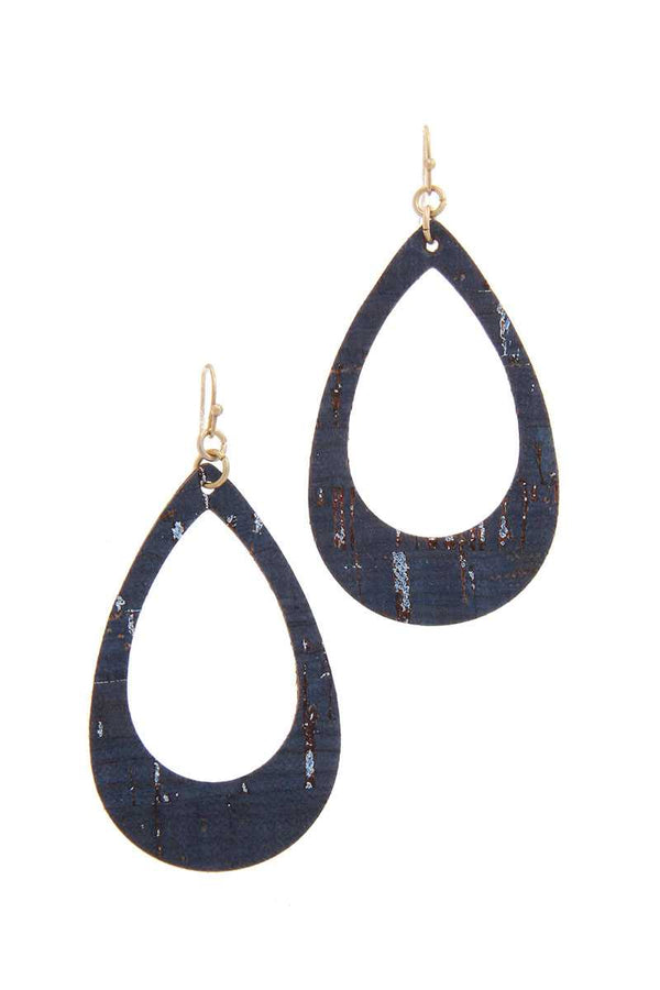 Cut Out Cork Teardrop Shape Drop Earring demochatbot