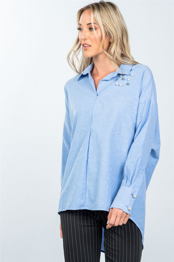 Denim blue faux pearl hi-low hem shirt demochatbot