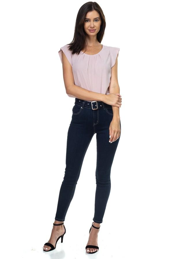 Denim High Rise Belted Pants - Pinky Petals