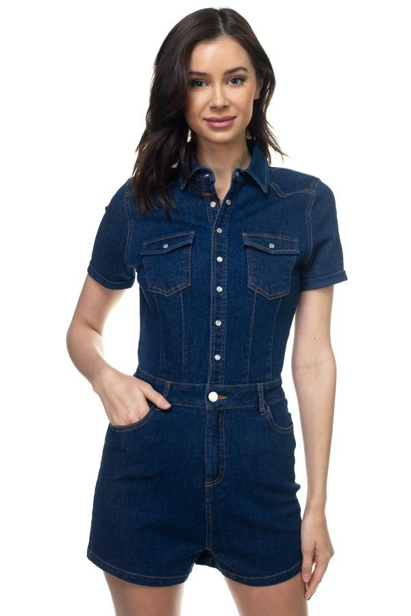 Denim Short Sleeve Romper demochatbot