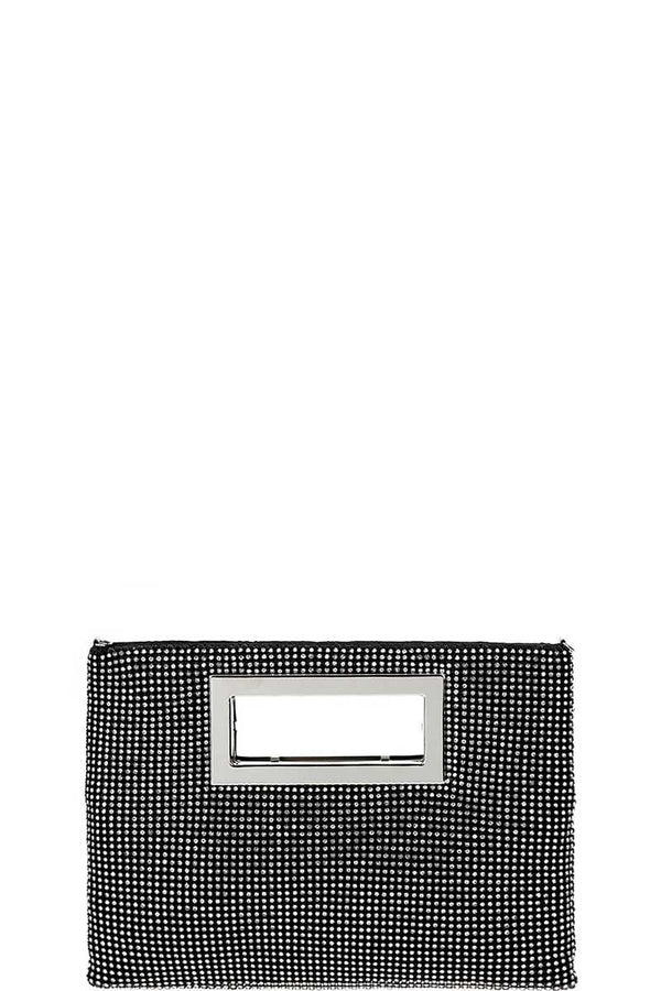 Designer Fashion Multi Rhinestone Clutch Purse With Chain demochatbot