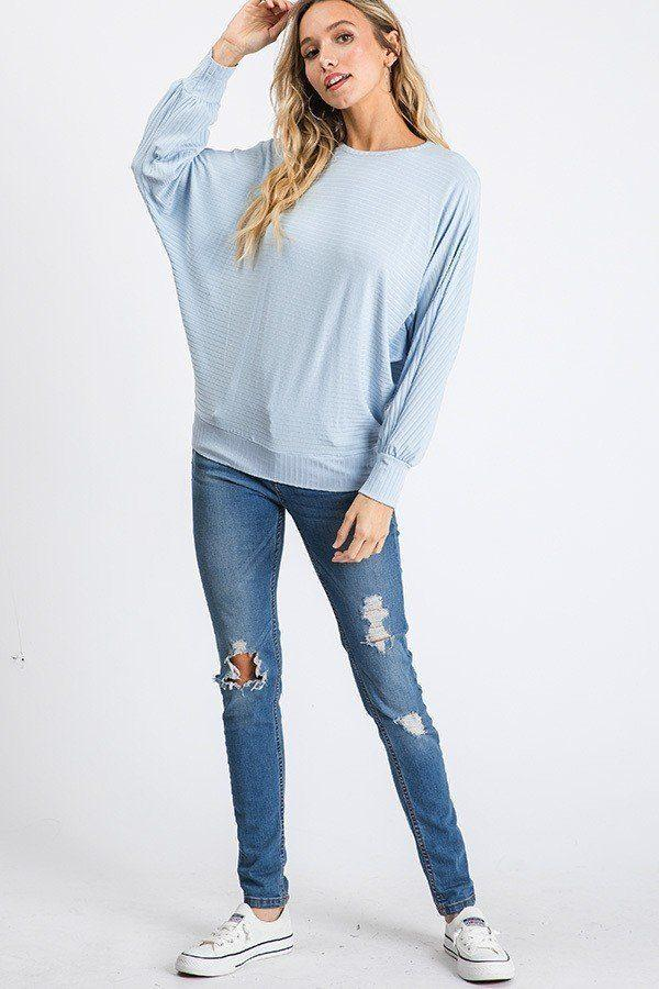 Dolman Long Sleeve Ribbed Top With Banded Hem demochatbot