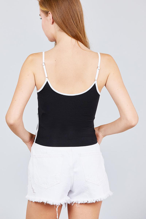 Double Round Neck Contrast Cami Top demochatbot