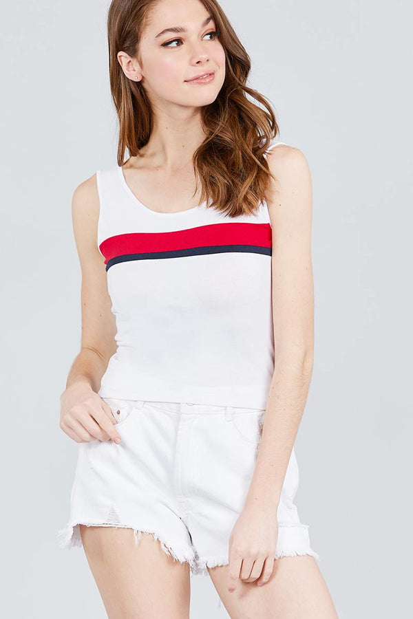 Double Scoop Neck Color Block Knit Tank Top demochatbot White/Bold Red S