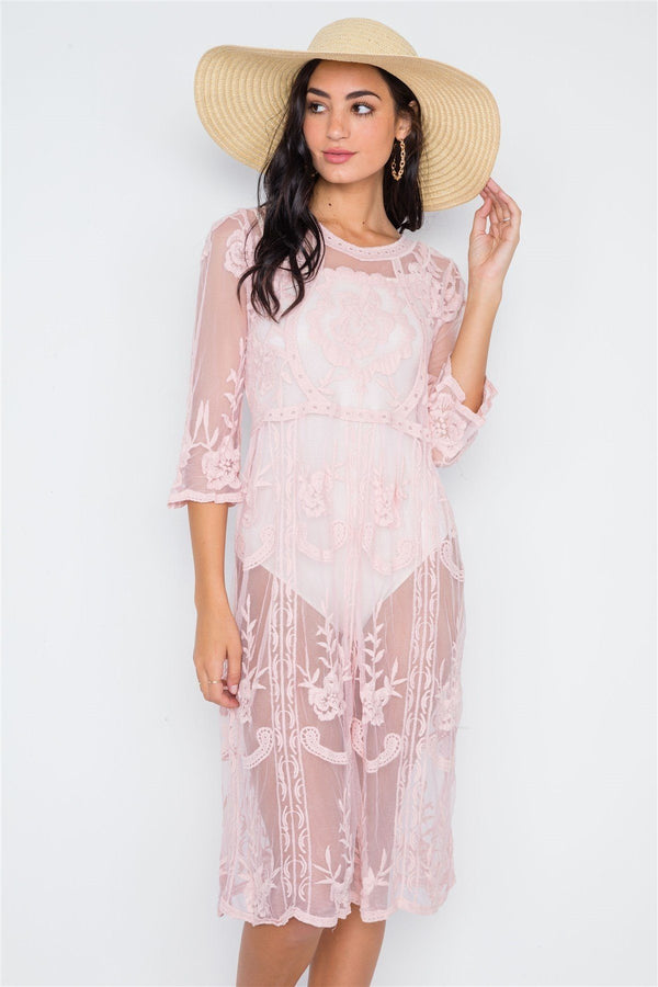 Dusty Pink Floral Embroidery Tunic Dress - Pinky Petals