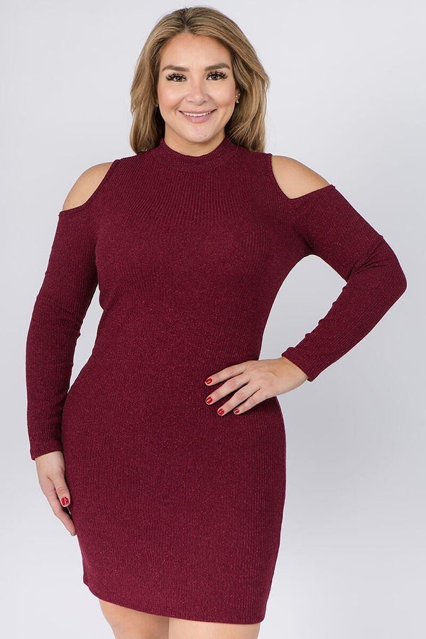 Embellished Solid Rib Knit Cold Shoulder Long Sleeve Dress demochatbot Burgundy 1XL
