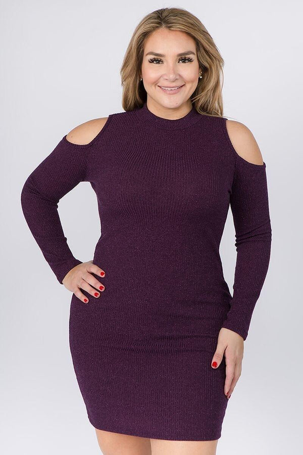 Embellished Solid Rib Knit Cold Shoulder Long Sleeve Dress demochatbot Purple 1XL