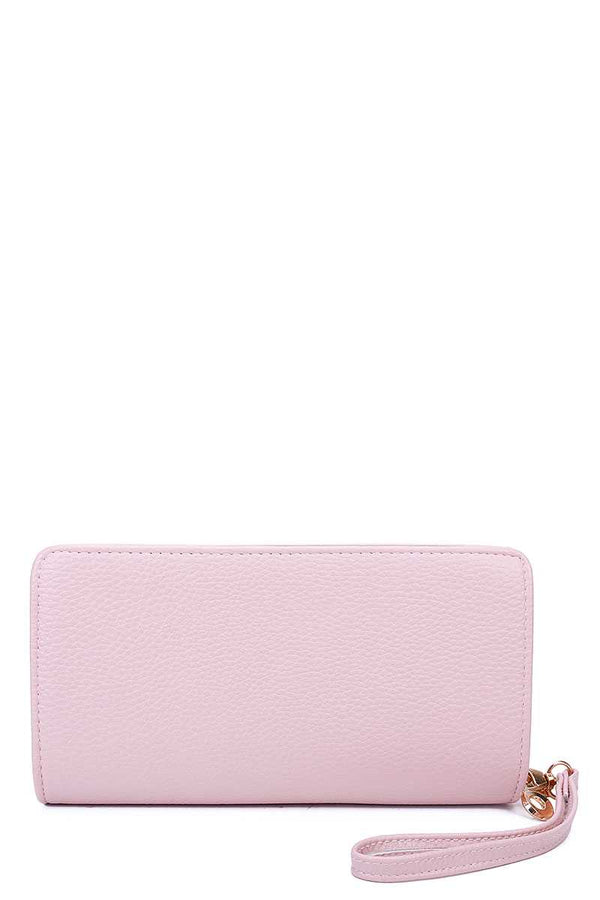 Fashion Solid Color Double Side Long Wallet With Hand Strap demochatbot