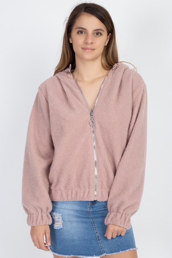 Faux Fur Drawstring Hooded Jacket demochatbot Dusty Blush S
