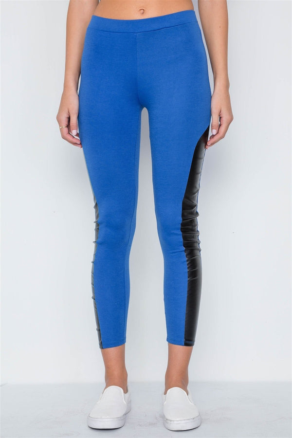 Faux Leather Sides Mid-rise Leggings demochatbot Royal Blue S