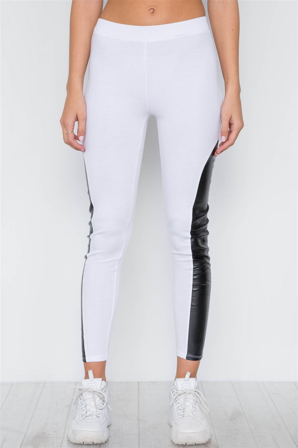 Faux Leather Sides Mid-rise Leggings demochatbot White S