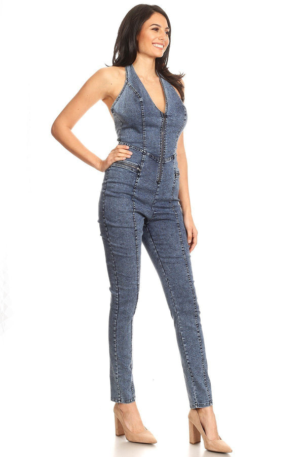 Fitted Denim Jumpsuit With Halter Neck, Low Back, And Zipper Detail demochatbot