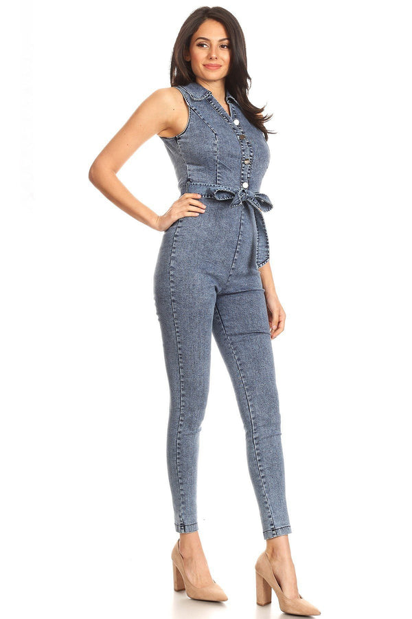 Fitted Denim Jumpsuit With Waist Tie, Button Down Detail, And Collar demochatbot